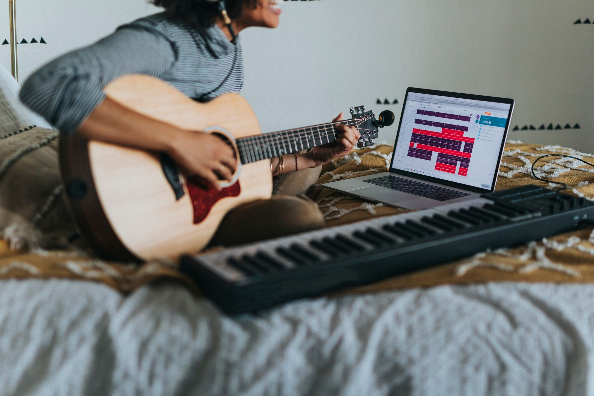 songwriter playing guitar, keyboard, recording to a laptop for the mechanical licensing collective